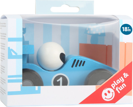 Blue wooden dasher car